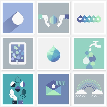 Drops of water. Set of design elements Illustration
