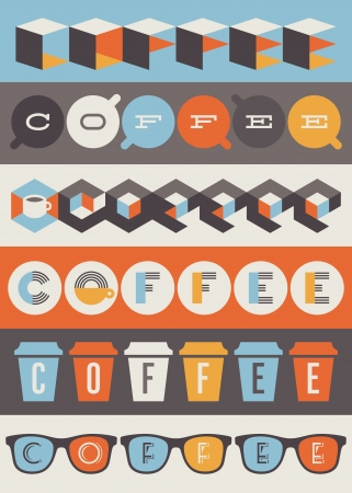 Coffee emblems and labels  Set of design elements Vector
