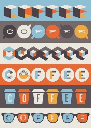 filiżanka kawy: Symbole kawy i etykiety Zestaw elementów Ilustracja