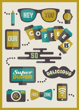 Hipster cafe menu  Set of design elements