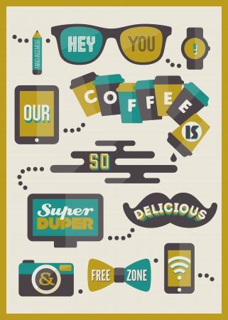 beverage display: Hipster cafe menu  Set of design elements