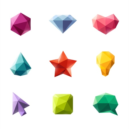 Polygonal geometric figures  Set of design elements Vector