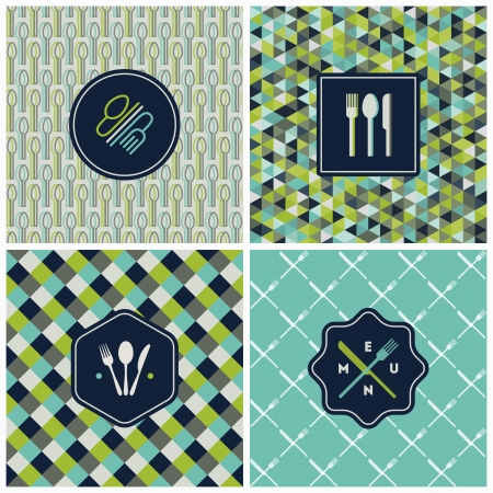 Restaurant menu seamless patterns  Vector set