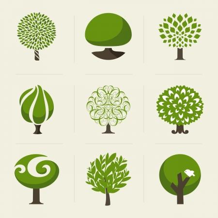 foglie di quercia: Albero - Raccolta di elementi di design