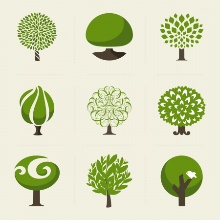 ek: Träd - Insamling av designelement Illustration