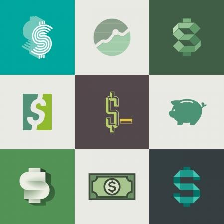 �conomie verte: Dollar signes design - illustration