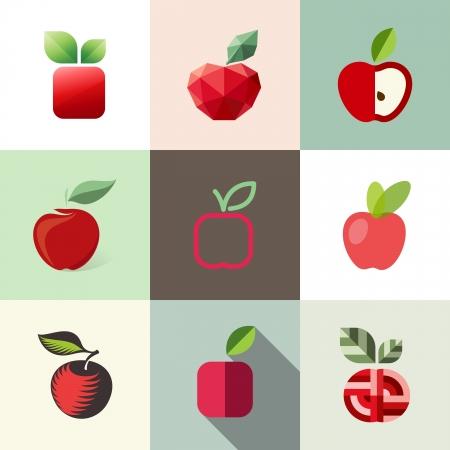 manzana verde: Apple - plantillas set - Elementos para el diseño