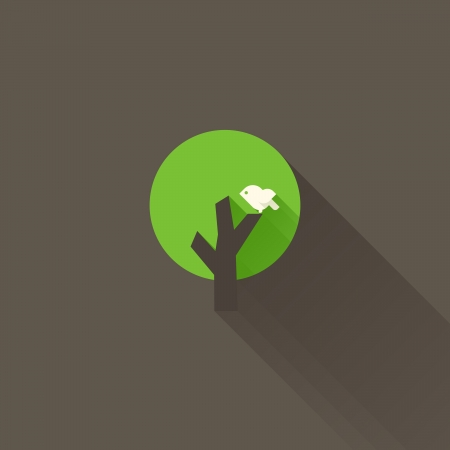 Green tree on a brown background. Vector illustration