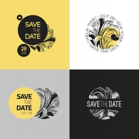 dattes: Save the date - mariage ensemble graphique dans le style baroque - Vector illustration