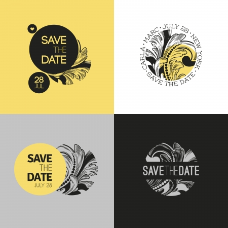 date: Save the date - wedding graphic set in baroque style - Vector illustration Illustration