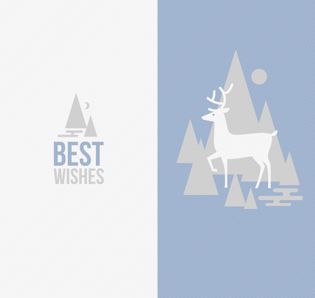 Elegant winter design with deer - Vector illustration Vector