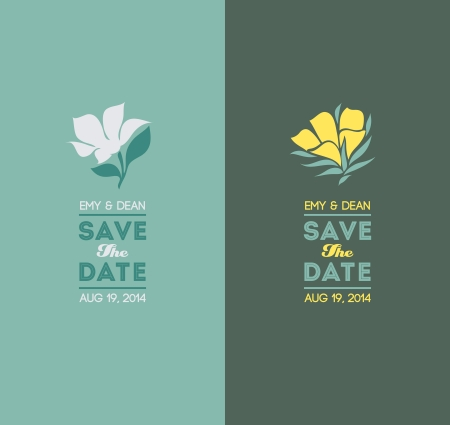 green dates: Elegant flowers - Wedding graphic set - Vector illustration