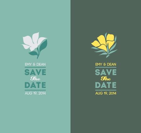 dattes: Fleurs �l�gantes - Mariage jeu graphique - illustration vectorielle Illustration