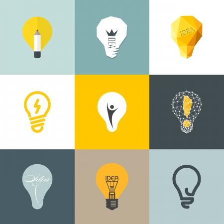 Bóng đèn sáng tạo - Bộ sưu tập của các yếu tố thiết kế vector Hình minh hoạ