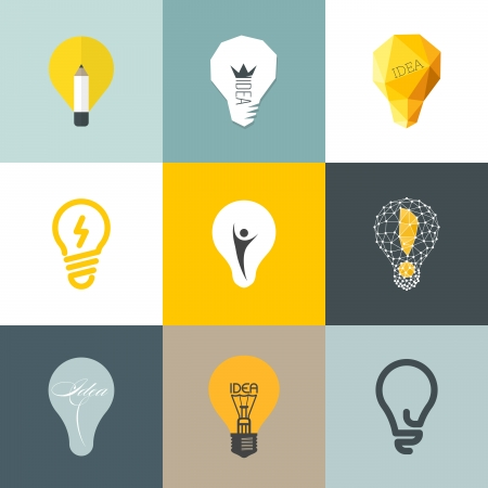 logos design: Creative light bulb - Collection of vector design elements