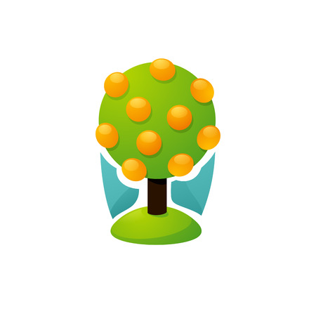 orange tree: Orange tree with ripe fruits - Elegant vector illustration