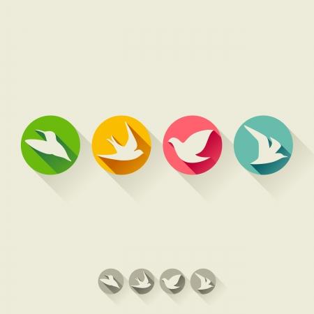 dieren: Vogel - Flat icoon met lange schaduw - Set van vector illustratie