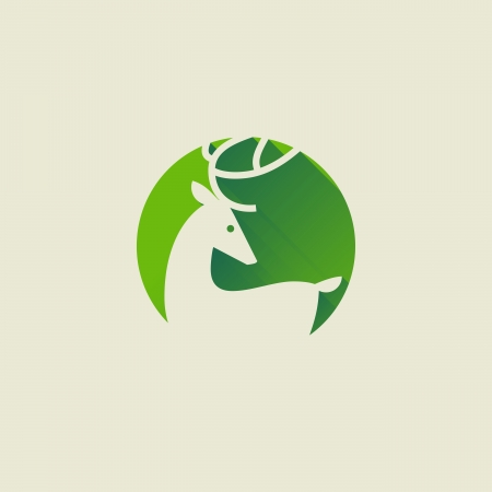 elk horn: Deer - Elegant flat icon with long shadow - Vector illustration Illustration