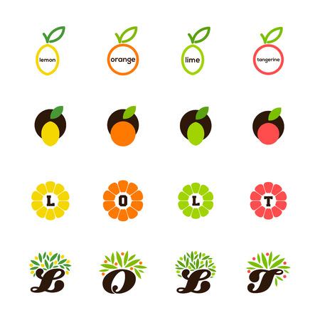citrus tree: Lim�n, naranja, lim�n, mandarina, pomelo - Conjunto de elementos de dise�o