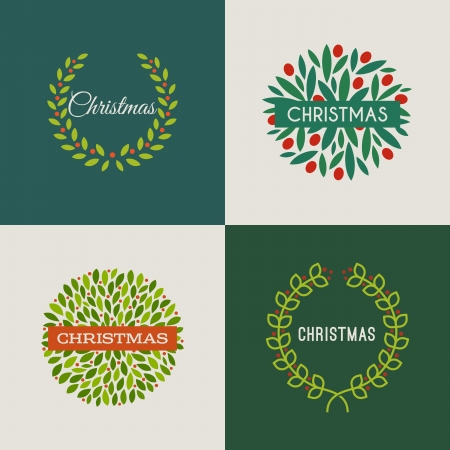 yew: Christmas wreath with red holly berries - Set of vector illustrations
