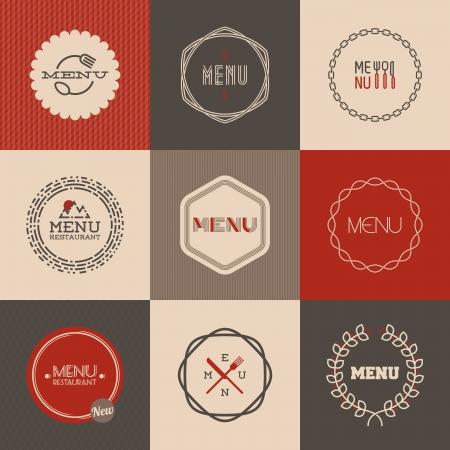 Nhãn thiết lập cho các nhà hàng thực đơn thiết kế - Vector minh họa
