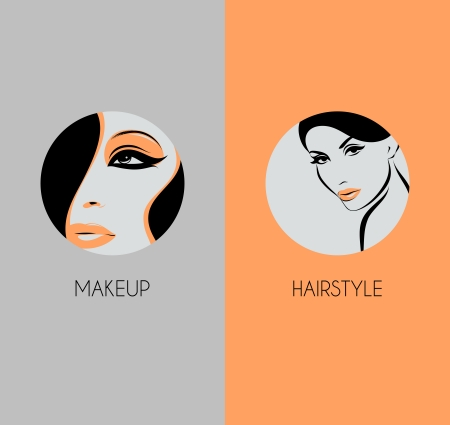 advertising woman: Girl face closeup - Hairstyle and makeup beauty badges Illustration