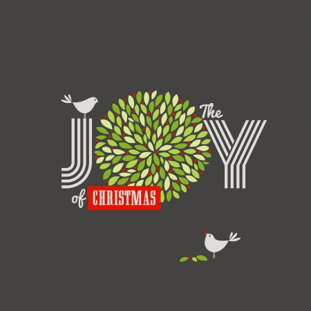 yew: Christmas background with cute birds and the joy of Christmas slogan