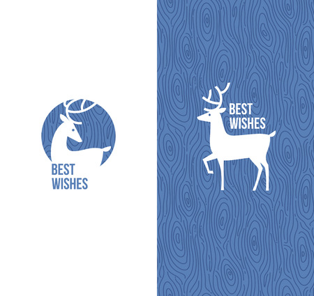Deer on retro wooden background - Vector illustration Stock Vector - 24158998
