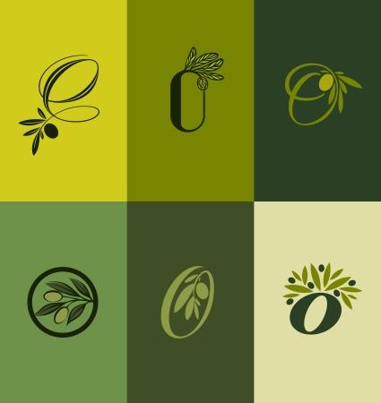 olijf: Olijfboom tak Set van labels - Vector illustratie Stock Illustratie