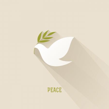 paloma: La paz se zambull� con la rama de olivo - ilustraci�n vectorial Vectores