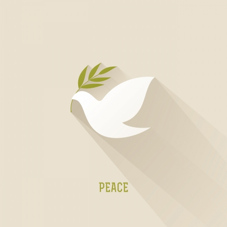 pigeons: Peace dove with olive branch - Vector illustration