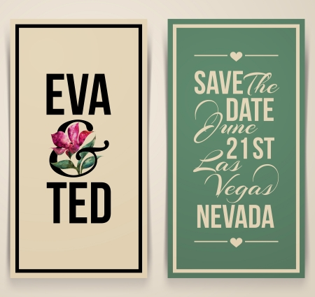Vintage wedding card with pink tulip - Vector illustration Vector