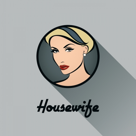 Housewife - Retro icon with long shadow - Vector illustration Vector