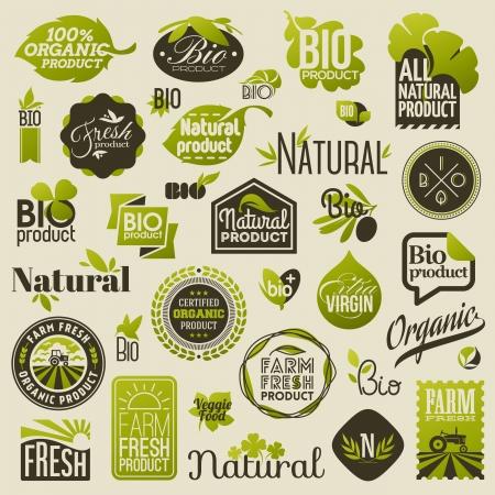 Etichette dei prodotti biologici naturali, emblemi e stemmi - Insieme di elementi di disegno vettoriale
