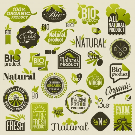 Natural organic product labels, emblems and badges - Set of vector design elements