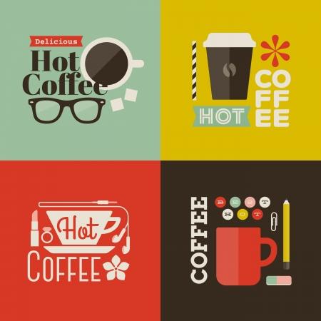 vintage etiket: Hete koffie - Verzameling van vector designelementen Stock Illustratie