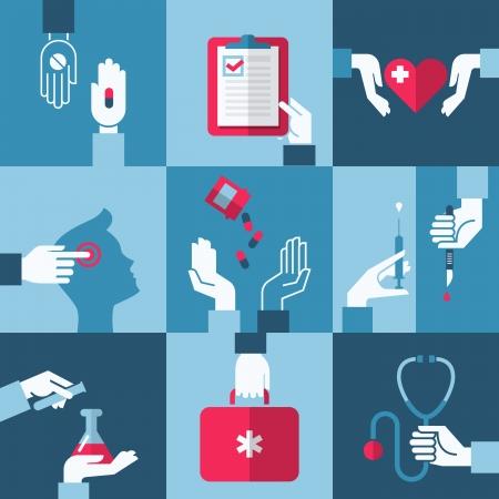 gezondheid: Medische en gezondheidszorg design elementen - vector illustratie Stock Illustratie