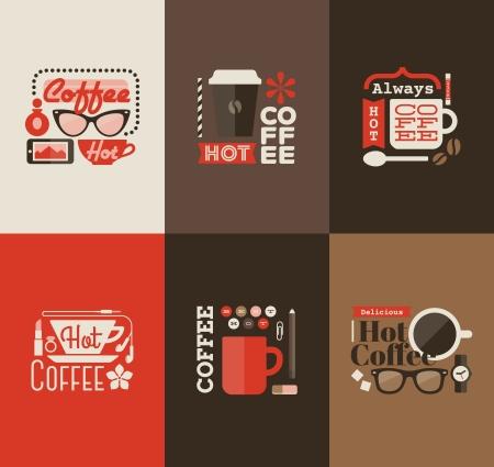 caf�: Caff� caldo - Insieme di elementi di disegno vettoriale