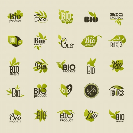 olive farm: Bio product - Set of vector labels and emblems