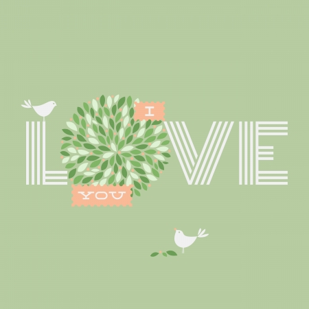 Greeting card with love lettering and two pretty birds - Vector illustration Vector