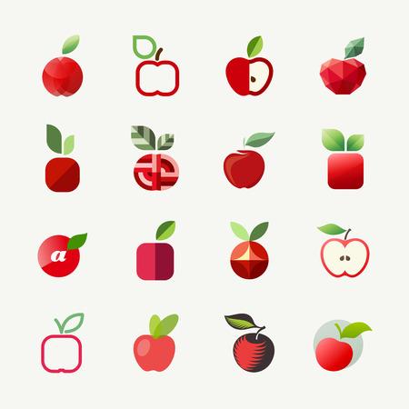 dietary fiber: Apple - Vector logo templates set - Elements for design