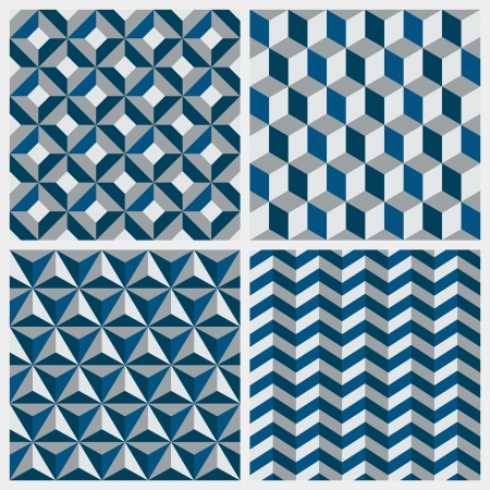 Set of geometric seamless patterns - Vector illustration Çizim