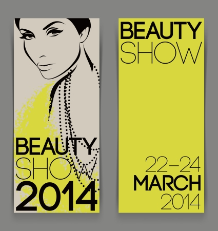 close up face: Template with attractive female for advertising flyer of beauty show - Vector illustration Illustration