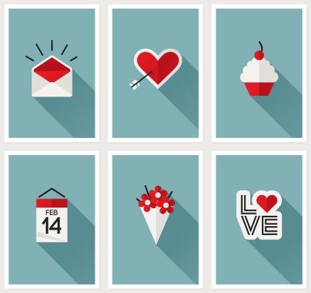 sobres para carta: Conjunto de s�mbolos rom�ntico d�a de San Valent�n ilustraci�n Vectores