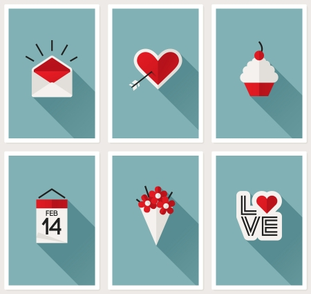 Set of romantic Valentines day symbols  illustration Vector