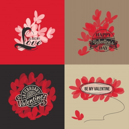 Valentines day cards with butterflies illustration Vector