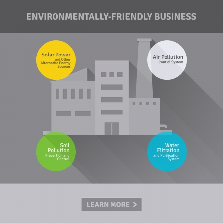 Concept of environmentally-friendly industrial factory illustration Vector