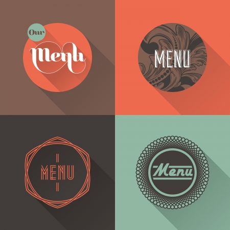 Labels for restaurant menu design illustration Vector