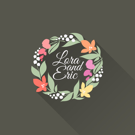 Floral wreath -  Flat design with long shadow - Vector illustration Vector