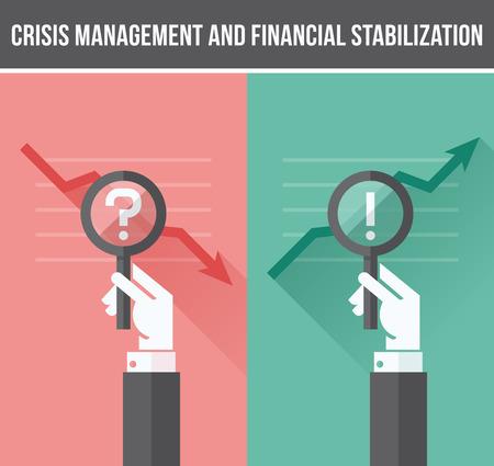 crisis economica: Dise�o plano el concepto de an�lisis de la crisis financiera y econ�mica y el crecimiento empresarial - ilustraci�n vectorial
